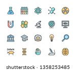 set of science flat color line... | Shutterstock .eps vector #1358253485