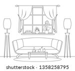living room drawn in thin lines.... | Shutterstock .eps vector #1358258795