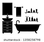 bathroom stencil with furniture ... | Shutterstock .eps vector #1358258798
