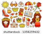 summer colorful stickers. set... | Shutterstock .eps vector #1358259632