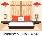 bedroom in oriental style.... | Shutterstock .eps vector #1358259782