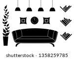 silhouette of the living room.... | Shutterstock .eps vector #1358259785