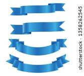 set of blue ribbon banner icon... | Shutterstock .eps vector #1358262545