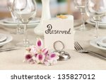 reserved sign on restaurant... | Shutterstock . vector #135827012