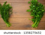 fresh parsley and dill for... | Shutterstock . vector #1358275652
