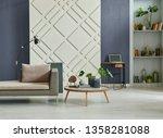 home living room interior  dark ... | Shutterstock . vector #1358281088