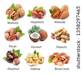 collage of nuts isolated on... | Shutterstock . vector #1358297465