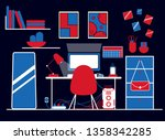 Gaming Workspace With Red...