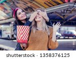 attractive blond girl and her... | Shutterstock . vector #1358376125