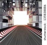 racetrack in modern city space... | Shutterstock . vector #135838886
