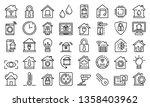 smart home icons set. outline... | Shutterstock .eps vector #1358403962