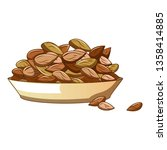 plate of almond nuts icon.... | Shutterstock .eps vector #1358414885