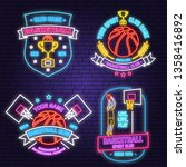 set of basketball club neon... | Shutterstock .eps vector #1358416892