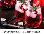 red cocktail with cold vodka... | Shutterstock . vector #1358449835