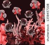 watercolor seamless pattern... | Shutterstock . vector #1358457338