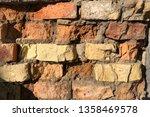 background of old broken brick... | Shutterstock . vector #1358469578