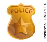 Police gold badge icon. Cartoon of police gold badge vector icon for web design isolated on white background