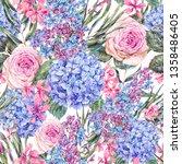 watercolor vintage floral... | Shutterstock . vector #1358486405