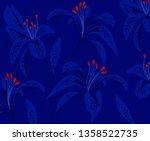 dark blue floral pattern. lily... | Shutterstock .eps vector #1358522735