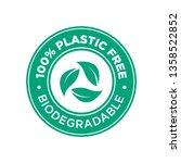 100  plastic free.... | Shutterstock .eps vector #1358522852