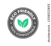 eco friendly. 100  compostable... | Shutterstock .eps vector #1358522855