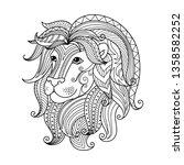 leo zodiac sign. zentangle...   Shutterstock .eps vector #1358582252