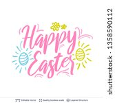 happy easter greeting text... | Shutterstock .eps vector #1358590112