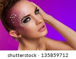 beautiful woman with fantasy... | Shutterstock . vector #135859712
