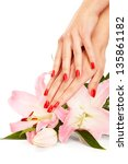 closeup image of red manicure... | Shutterstock . vector #135861182