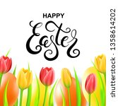 happy easter card with eggs ... | Shutterstock .eps vector #1358614202