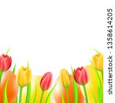easter background with eggs and ... | Shutterstock .eps vector #1358614205