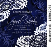 invitation or wedding card with ... | Shutterstock .eps vector #135863096