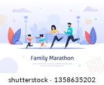 happy family on jogging banner... | Shutterstock .eps vector #1358635202
