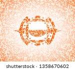 watermelon icon inside orange...   Shutterstock .eps vector #1358670602
