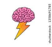 cartoon brain  hand drawn ... | Shutterstock . vector #1358691785