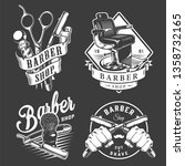vintage barbershop badges with... | Shutterstock .eps vector #1358732165