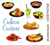 cuban cuisine meat dishes with... | Shutterstock .eps vector #1358744768