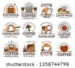 coffee cup and espresso machine ... | Shutterstock .eps vector #1358744798