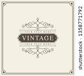 vintage frame luxury for... | Shutterstock .eps vector #1358771792
