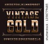 vintage gold alphabet font....   Shutterstock .eps vector #1358779685
