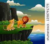 lions cartoon roaring on the...   Shutterstock .eps vector #1358791775