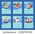 distance education set of cards ... | Shutterstock .eps vector #1358792762