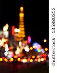 Stock photo abstract blurred background of eiffel tower on las vegas strip 135880352
