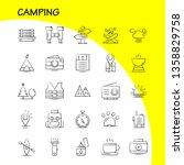 camping hand drawn icons set...