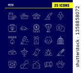 pets line icons set for...