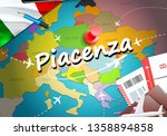 Piacenza city travel and tourism destination concept. Italy flag and Piacenza city on map. Italy travel concept map background. Tickets Planes and flights to Piacenza holidays Italian vacation