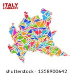 mosaic lombardy region map of...   Shutterstock .eps vector #1358900642