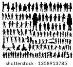 vector  kids silhouettes... | Shutterstock .eps vector #1358913785