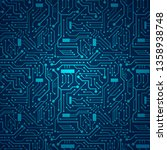 blue circuit board background | Shutterstock .eps vector #1358938748