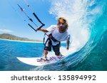 extreme sport  kite surfer...   Shutterstock . vector #135894992